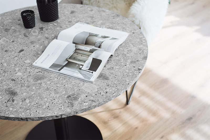 Tischplatte rund nach Maß in Steinoptik